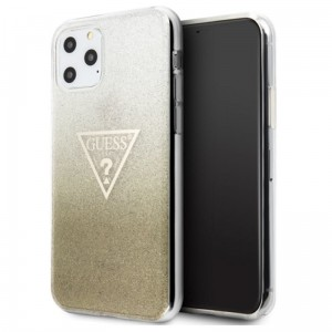 Etui do iPhone 11 Pro Max Guess Solid Glitter Triangle [złoty]