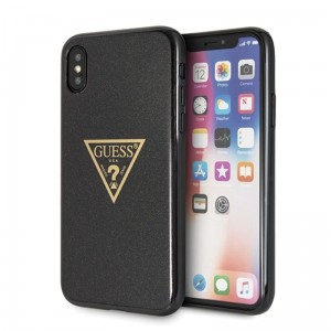 "Etui do iPhone X/XS (5.8"") Guess Solid Glitter Triangle [czarny]"
