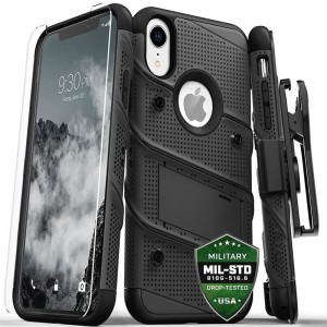 Etui do iPhone XR Zizo Bolt Cover [czarny z szybka 9H na ekran]