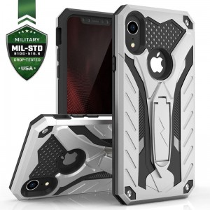 Etui do iPhone XR Zizo Static Cover [srebno-czarny] pancerne