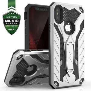Etui do iPhone XS MAX Zizo Static Cover [srebno-czarny] pancerne