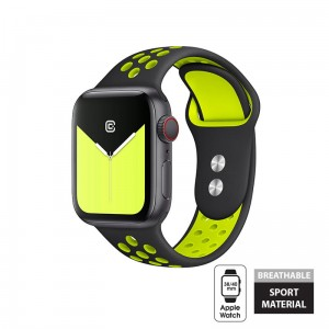 Pasek do Apple Watch 1/2/3/4/5/6/SE (38/40 mm) Crong Duo Sport Band [czarno limonkowy]