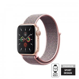 Pasek do Apple Watch 1/2/3/4/5/6/SE (38/40 mm) Crong Nylon Band [jasno różowy]