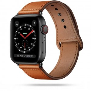 Pasek do Apple Watch 1/2/3/4/5/6/SE (42/44 mm) Tech-Protect LeatherFit [brązowy]
