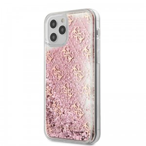 Etui do iPhone 12/12 Pro Guess 4G Liquid Glitter [różowy]