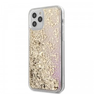 Etui do iPhone 12/12 Pro Guess 4G Liquid Glitter [złoty/różowy]