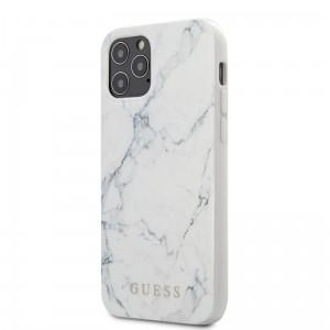 Etui do iPhone 12/12 Pro Guess Marble [biały]