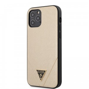 Etui do iPhone 12/12 Pro Guess Saffiano V [złoty]