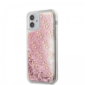 Etui do iPhone 12 Mini Guess 4G Liquid Glitter [różowy]