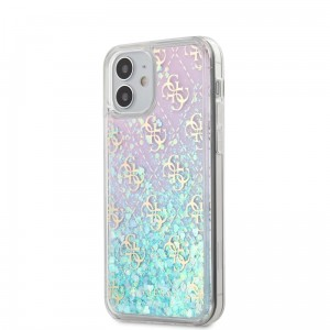 Etui do iPhone 12 Mini Guess 4G Liquid Glitter [różowo/turkusowy]