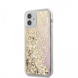 Etui do iPhone 12 Mini Guess 4G Liquid Glitter [złoty/różowy]