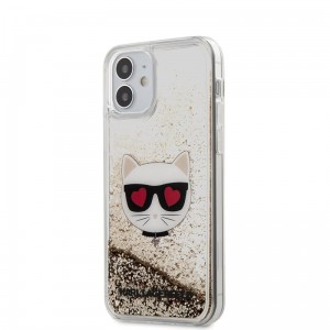 Etui do iPhone 12 Mini Karl Lagerfeld Liquid Glitter  Choupette [złoty]