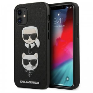 Etui do iPhone 12 Mini Karl Lagerfeld Saffiano Karl & Choupette Heads [czarny]
