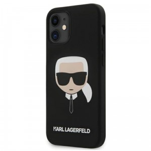 Etui do iPhone 12 Mini Karl Lagerfeld Silicone Ikonik Karl's Head [czarny]