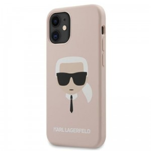 Etui do iPhone 12 Mini Karl Lagerfeld Silicone Ikonik Karl's Head [różowy]