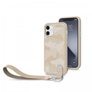 Etui do iPhone 12 Mini Moshi Altra z odpinaną smyczką [sahara beige]