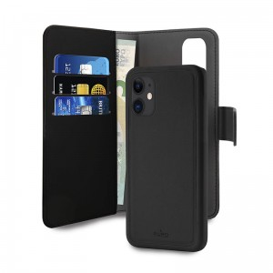 Etui do iPhone 12 Mini Puro Wallet Detachable z klapką 2w1 [czarny]