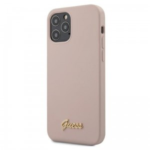 Etui do iPhone 12/12 Pro Guess Silicone Script [różowy]