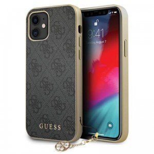 Etui do iPhone 12 Mini Guess 4G Charms Collection [szary]