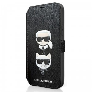 Etui do iPhone 12 Pro Max Karl Lagerfeld BookType Saffiano Karl & Choupette Heads [czarny]