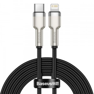Kabel Baseus Cafule Metal PD20W  USB-C to Lightning 200cm [czarny]