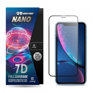 Szkło hybrydowe do iPhone 11/XR Crong 7D Nano Flexible Glass [czarna ramka]