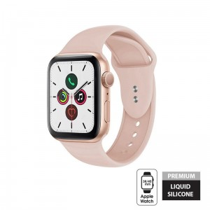 Pasek do Apple Watch 1/2/3/4/5/6/SE (38/40 mm) Crong Liquid Band [piaskowy róż]