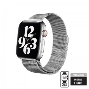 Pasek do Apple Watch 1/2/3/4/5/6/SE (38/40 mm) Crong Milano Steel [srebny]