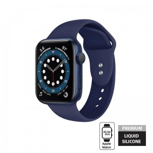Pasek do Apple Watch 1/2/3/4/5/6/SE (42/44 mm) Crong Liquid Band [granatowy]