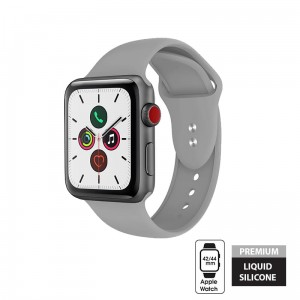 Pasek do Apple Watch 1/2/3/4/5/6/SE (42/44 mm) Crong Liquid Band [szary]