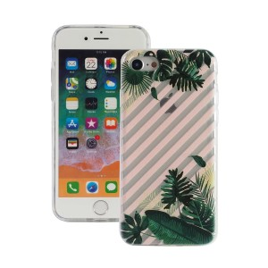 "Fashion Case Print Back [Leaves & Stripes], Etui silikonowe na iPhone 7/8 (4.7"")"