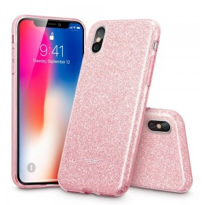 "Etui do iPhone X /XS(5.8"")ESR Glitter Shine Cover [różowe złoto], Brokatowe"