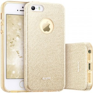 ESR Glitter Shine Cover [złote], Brokatowe etui na iPhone SE/5/5S