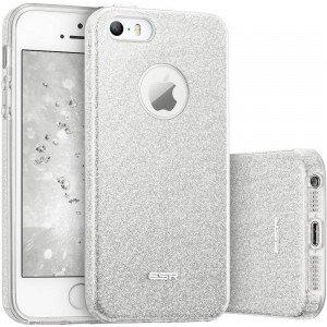 ESR Glitter Shine Cover [srebrne], Brokatowe etui na iPhone SE/5/5S