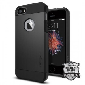 Etui do iPhone SE/5/5S Spigen Tough Armor [czarne pancerne]