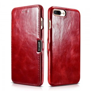 "Etui z klapką do iPhone 7+/8 Plus (5.5"") iCareR SideOpen Vintage [czerwone],"