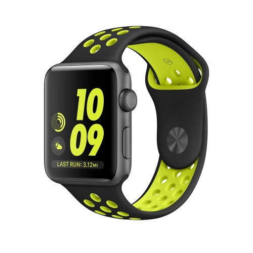 PASEK TECH-PROTECT SOFTBAND APPLE WATCH 1-2-3-4 (42-44MM) BLACK-LIME 1.jpg