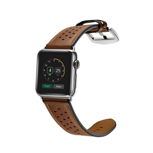 Pasek do Apple Watch 1/2/3/4/5/6/SE (42/44 mm) Tech-Protect Leather [brązowy]