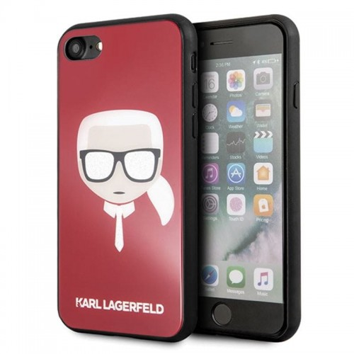 KARL LAGERFELD KARL'S HEAD DOUBLE LAYERS GLITTER CASE - ETUI IPHONE 8-7 (RED) 1.jpg