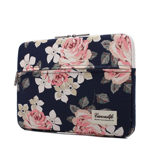 CANVASLIFE SLEEVE MACBOOK AIR-PRO 13 NAVY ROSE 1.jpg