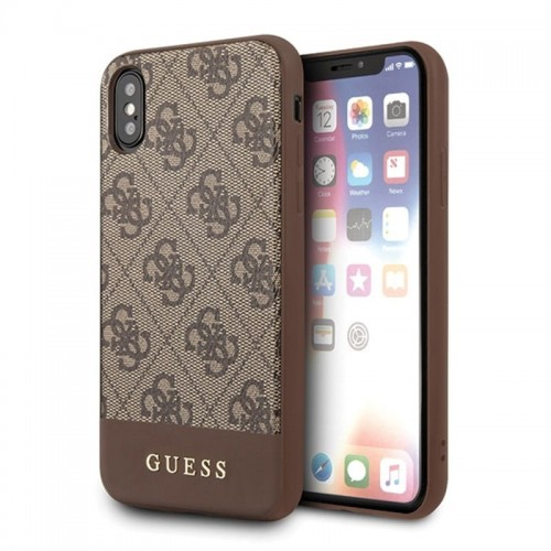 GUESS 4G BOTTOM STRIPE COLLECTION - ETUI IPHONE XS-X (BRĄZOWY) 1.jpg