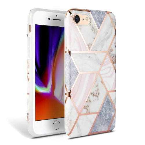 Etui do iPhone 7/8/SE 2020 Tech-Protect Marble [różowy]