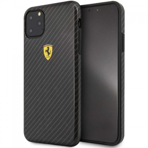 FERRARI ON TRUCK RACING SHIELD HARDCASE - ETUI IPHONE 11 PRO (CARBON EFFECT-BLACK).jpg