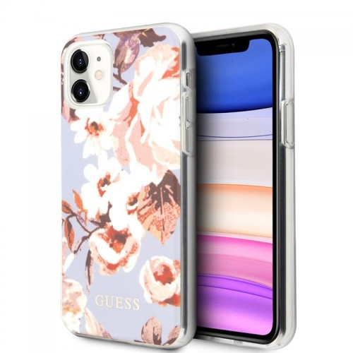 Etui do iPhone 11 Guess Flower Shiny Collection N2 [liliowy]