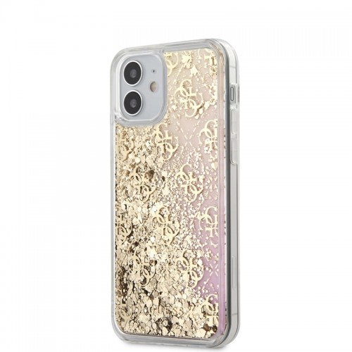 Etui do iPhone 12 Mini Guess 4G Liquid Glitter [złoty]