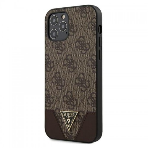 Etui do iPhone 12/12 Pro Guess 4G Triangle Collection [brązowy]