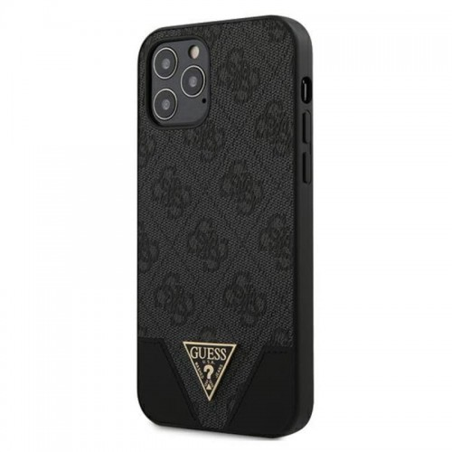 Etui do iPhone 12/12 Pro Guess 4G Triangle Collection [szary]
