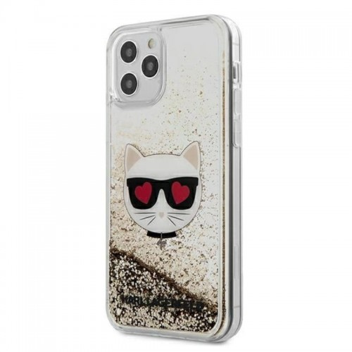 Etui do iPhone 12 Pro Max Karl Lagerfeld Liquid Glitter Choupette [złoty]