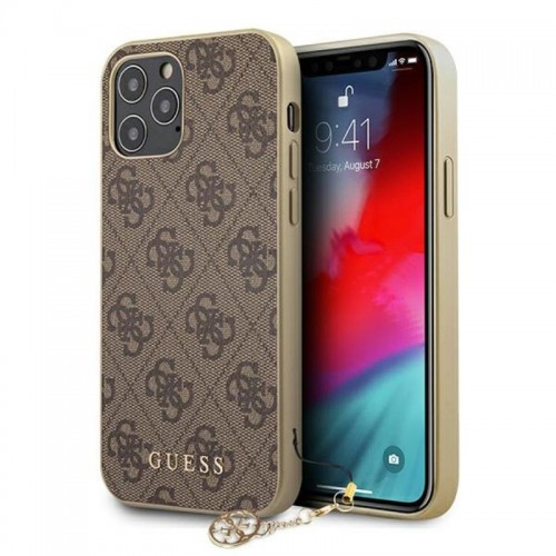 Etui do iPhone 12 Pro Max Guess 4G Charms Collection [brązowy]