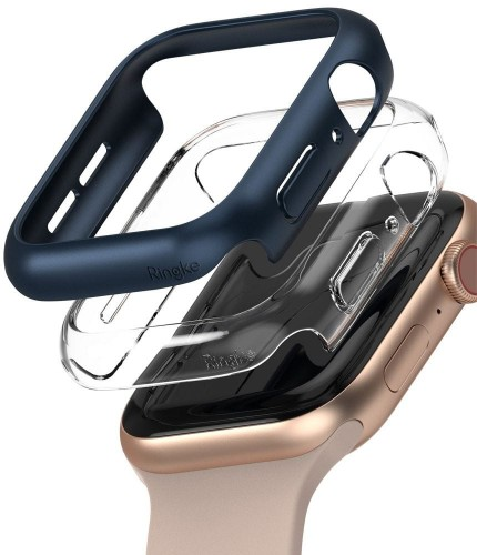 Etui ochronne do Apple Watch 4/5/6/SE (44mm) Ringke Slim 2- pack [clear i blue]